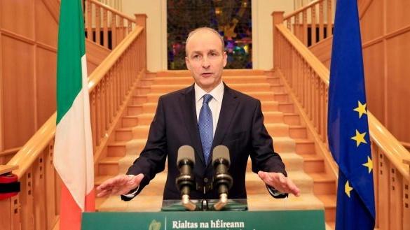 Taoiseach Micheál Martin s'adresse à la nation aux bâtiments du gouvernement le 19 octobre, annonçant un lockdwon national pendant six semaines.  Photographie: Julien Behal / Piscine / AFP via Getty